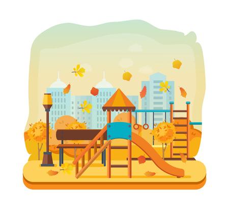 Autumn kids playground, entertainment in form of horizontal bars, swings. Illustration