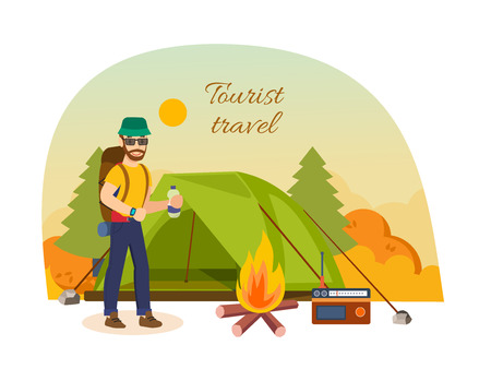 Tourist travel concept. Autumn vacation outdoor, camping and hiking.