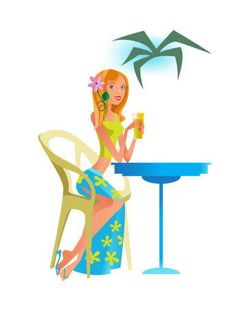 Summer travel and vacation. Young beautiful girl is resting in a cafe, drinking a cocktail. Summer rest and relaxation. Beach people. Vector illustration in cartoon style.