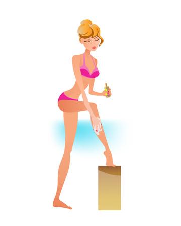 Girl in swimsuit resting on beach, smears cream from sunburn.