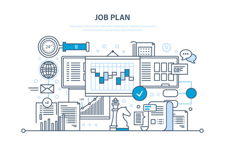 Job plan concept. Time management and optimization work time, planning, marketing, control, organization. Financial and business strategy. Illustration thin line design of vector doodles, infographics elements.