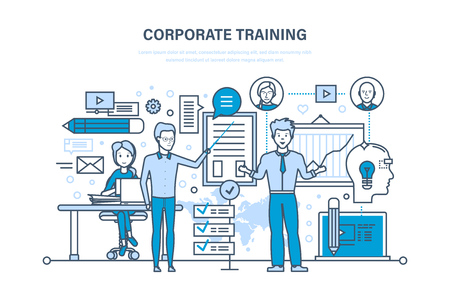 school class: Corporate training, education, learning. Teaching on lesson. Conference, presentation.