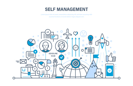 Self management concept. Control, personal growth, emotional intelligence, leadership skills.
