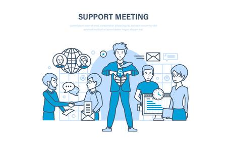 Ondersteunende vergadering. Communicatie, partnerschap, teamwerk, kantoormedewerkers, samenwerking.
