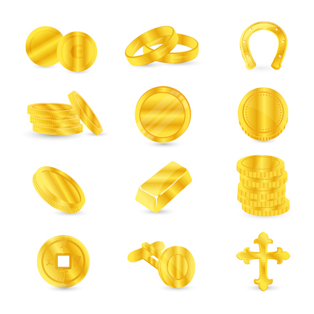 Gold coins and gold items: cufflinks, jewelry, religious accessories. Illustration