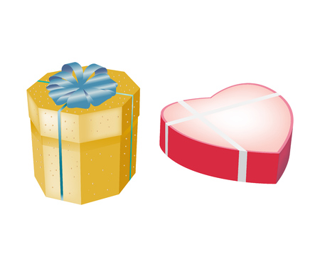 Gift boxes in form of multi-faceted box, boxes form heart.