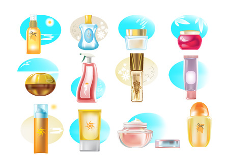 Realistic types of cosmetic products, creams, skin care products, gels. Ilustração