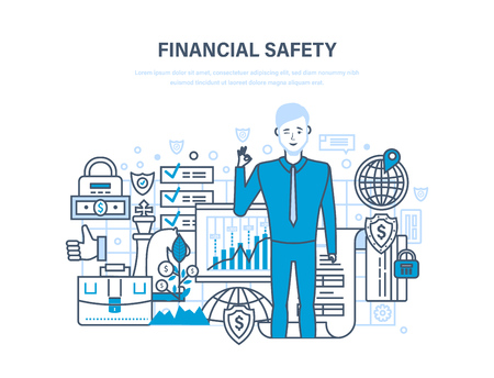 Finance security and payment safety, insurance, protection, purchases, money transfers. Ilustrace