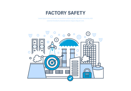 industrialised: Factory safety concept. Industrial factory in city street urban landscape.