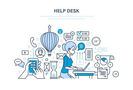 Bureau d'aide. Support technique, conseil en système de clients, moyens de communication.