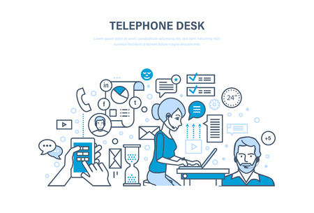 security monitor: Telephone desk. Workplace, workflow office room. Colleagues, communications, teamwork, partnership.