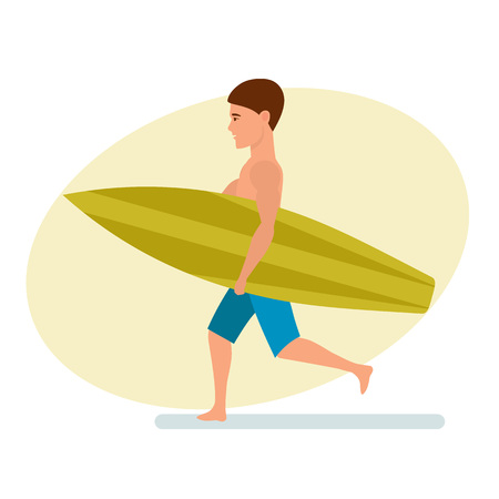 Surfer stands sideways holding the board for swimming in his hands.