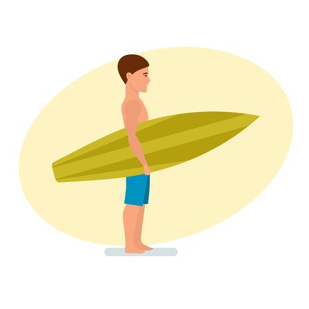 Surfer stands sideways holding board for swimming in his hands. Illustration