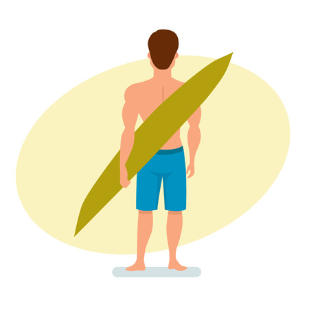 boy swim: Surfer stands with his back, holding a board for swimming.