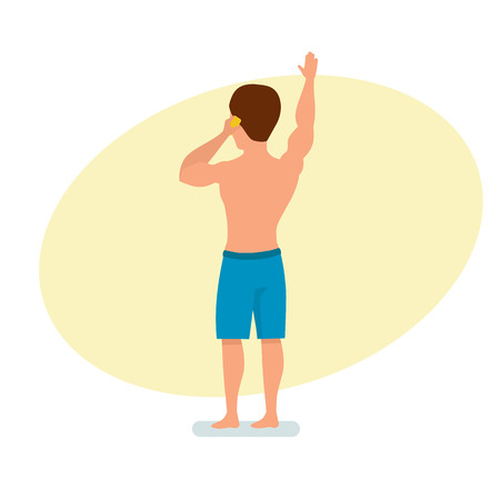 Surfer speaks on phone, conducts dialogue and greeting with a raised hand. Illustration