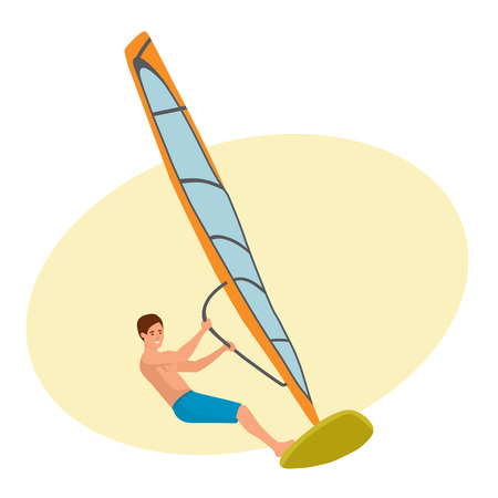 Man sails on a sailboat, engaged in active rest. Illustration
