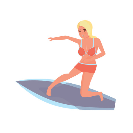 Summer vacation on sea and beach. Surfer woman with surfboard standing and riding on ocean wave. Recreational beach water sport. Surf travel. Character person. Vector illustration in cartoon style. Illustration