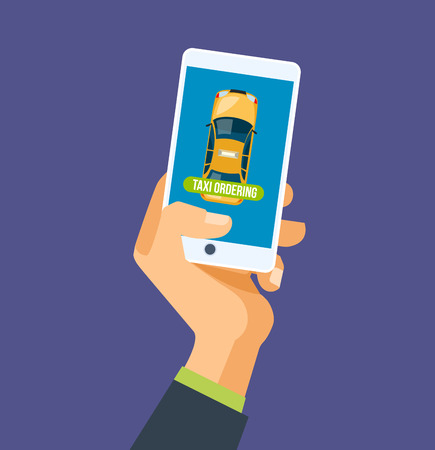 Hand holds the mobile phone, looking for taxi, mobile app for car pooling or service
