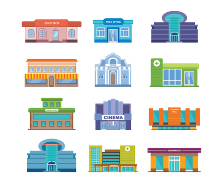 centers: Set of urban buildings and architectural structures, Beauty salon, post office, shopping centers, cinema, hospital, supermarket, school.