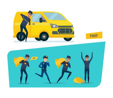 Set of thief vector Illustration