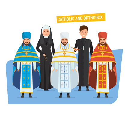 Religious priests, nuns, in spiritual robes, cassocks.