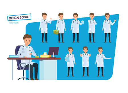 Doctor in various situations, poses.
