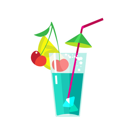 Fruit cocktail in transparent glass with straw, cherry, lemon, ice. Illustration