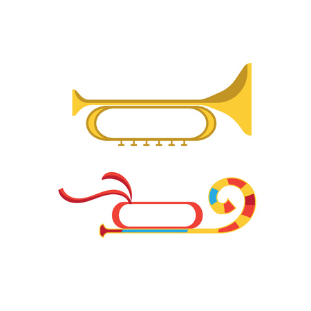 Festive accessories. Festive musical instrument in the form of trumpet, with a decorative pattern.