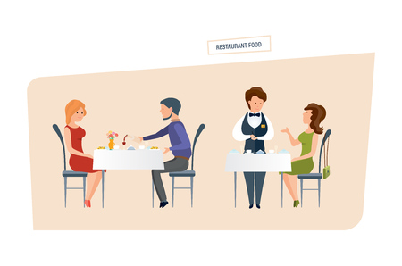 pareja comiendo: Restaurant food. People eat at the restaurant and make orders.