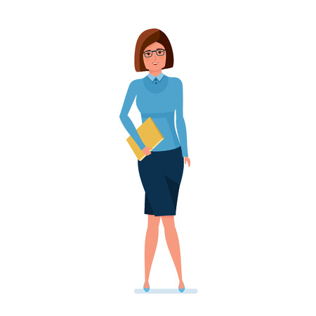 Young teacher in strict work clothes with magazine in hand. Stock Vector - 85713867