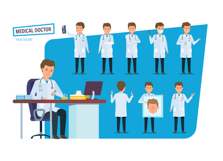 Set of medical doctor, healthcare. Doctor in various situations, poses.