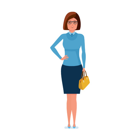 Girl teacher character, stands with bag in hand and smiles. Illustration