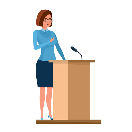 Teacher stands near pedestal and tells information material, gives lecture. Stock Vector - 85713903