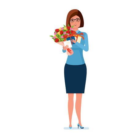 Teacher holds flowers, presents and a postcard on teachers day. Stock Vector - 85713912