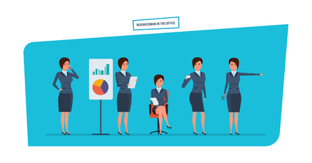 communication cartoon: Businesswoman in office work situations. Statistical research, marketing, planning, presentation.