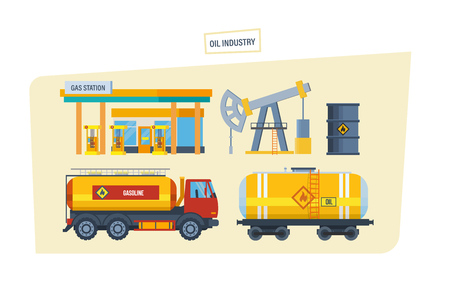 Gas station, drilling rig for oil, machine for transportation oil. Stock Photo