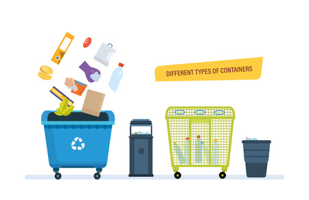 Different types containers, for food waste, paper products, plastic waste.