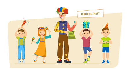 Childrens party. Small happy children, have fun, play, spend time.
