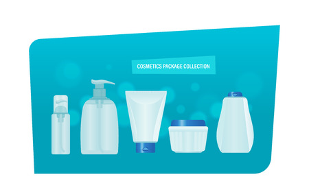 Cosmetics package collection. Realistic set of liquid soap, tube of cream, dispenser perfume, for womens and men, gels and sprays, colognes and ointments. Colorful vector illustration isolated.