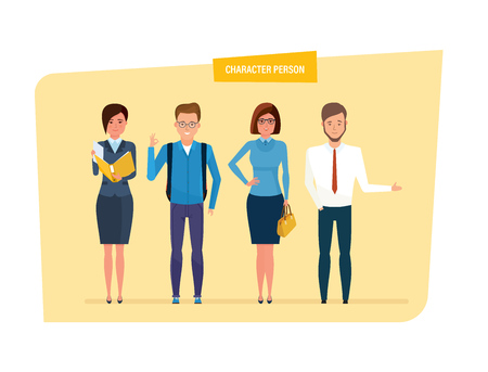 Set of character person business and education. Teacher with documents in her hands, schoolboy with backpack, businesswoman with handbag, bank employee in strict clothes. Vector illustration isolated Illustration
