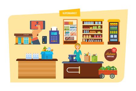 mujer en el supermercado: Supermarket with products shelves. Interior of room inside. Grocery items, retail. Shop, supermarket, mall. Autumn super sale, discount. Seller-cashier, behind cash register Vector illustration Vectores