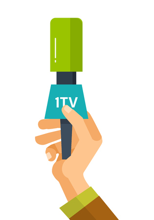 oncept: Hand hold microphone, reporters interview for publishers, press, television. oncept of journalism and interviews. Vector illustration isolated on white background.