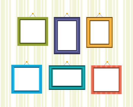 Set of retro frames for reward and photos in different colors and textures, hanging on the wall. Vector illustration isolated. Imagens