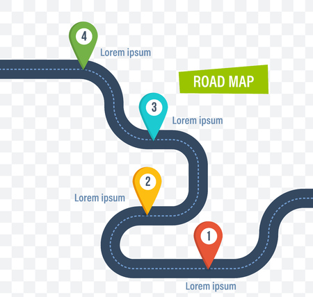 Road map with colorful bright marks markers and road. Banco de Imagens