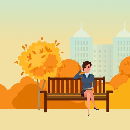 Girl resting in park Illustration