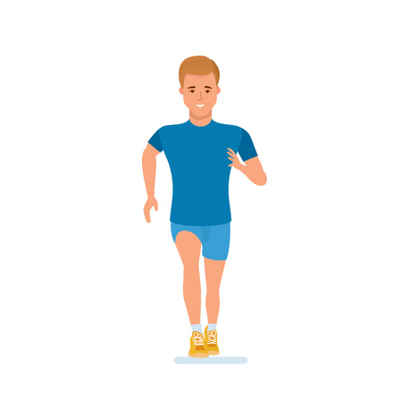 Athlete engaged in athletics, running, doing special physical exercises, warm-up.