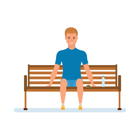 Athlete, rests, sit on bench in park, drinks water, relaxes.