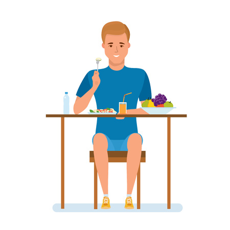 Young man leads healthy active lifestyle, organic natural healthy food. Illustration