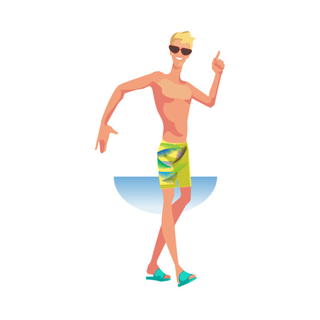 Stylish guy, in beachwear, dances with movements of hands, feet. Illustration