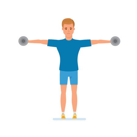 Doing sports, training sportsman, healthy lifestyle. Character person athlete. Sportsman engaged in physical exercises, gymnastics, raises arms or hand with dumbbells. Illustration in cartoon style.